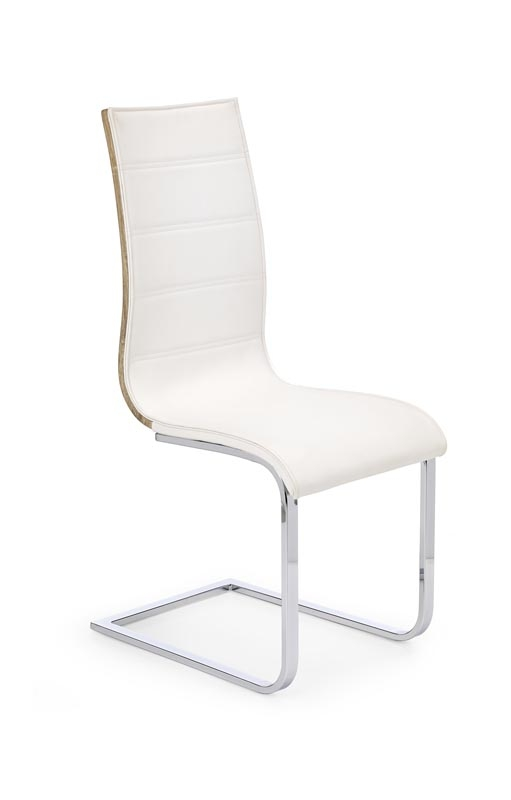 Scaun tapitat cu piele ecologica, cu picioare metalice K104 White / Sonoma Oak, l42xA56xH99 cm
