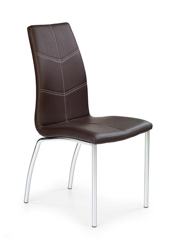 Scaun tapitat cu piele ecologica, cu picioare metalice K114 Brown, l42xA46xH111 cm
