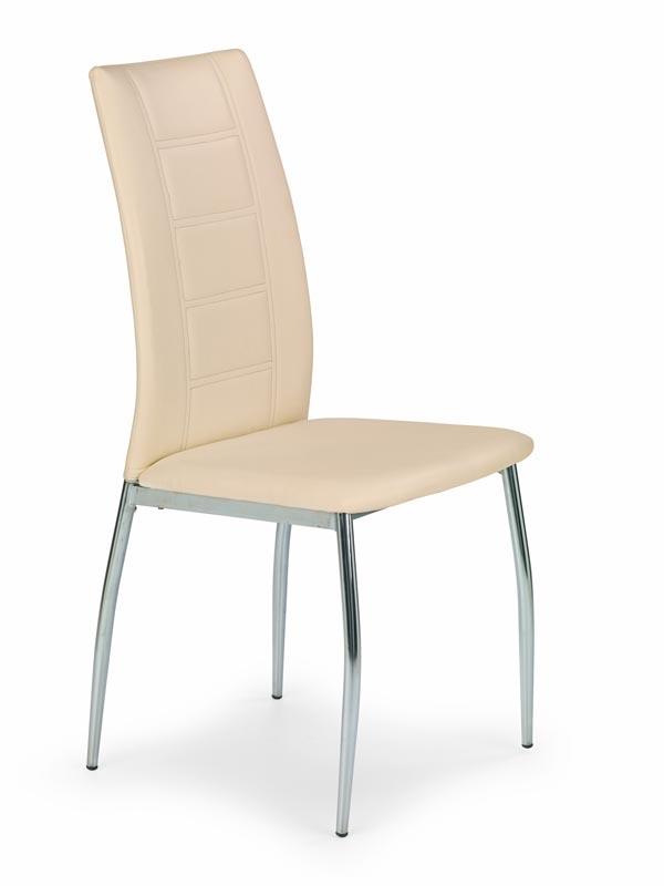Scaun tapitat cu piele ecologica, cu picioare metalice K134 Beige, l46xA50xH96 cm