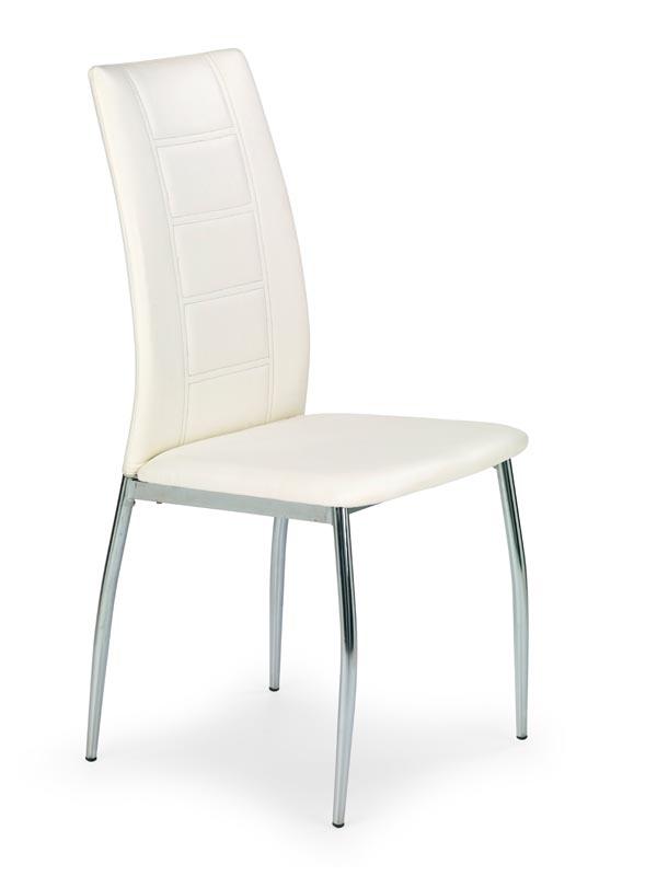 Scaun tapitat cu piele ecologica, cu picioare metalice K134 White, l44xA50xH96 cm