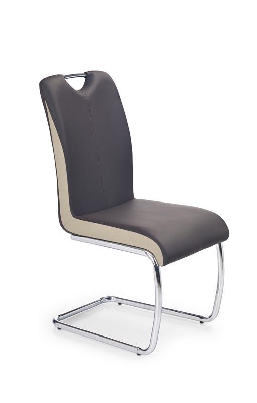 Scaun tapitat cu piele ecologica, cu picioare metalice K184 Maro inchis, l43xA55xH94 cm