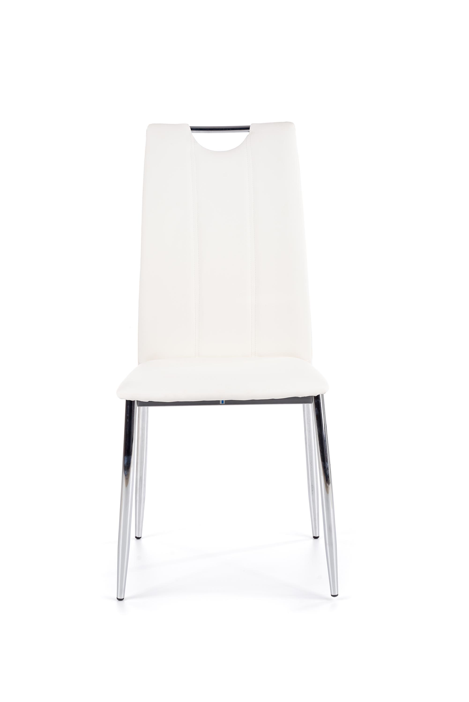 Scaun tapitat cu piele ecologica, cu picioare metalice K187 Alb / Crom, l46xA56xH97 cm
