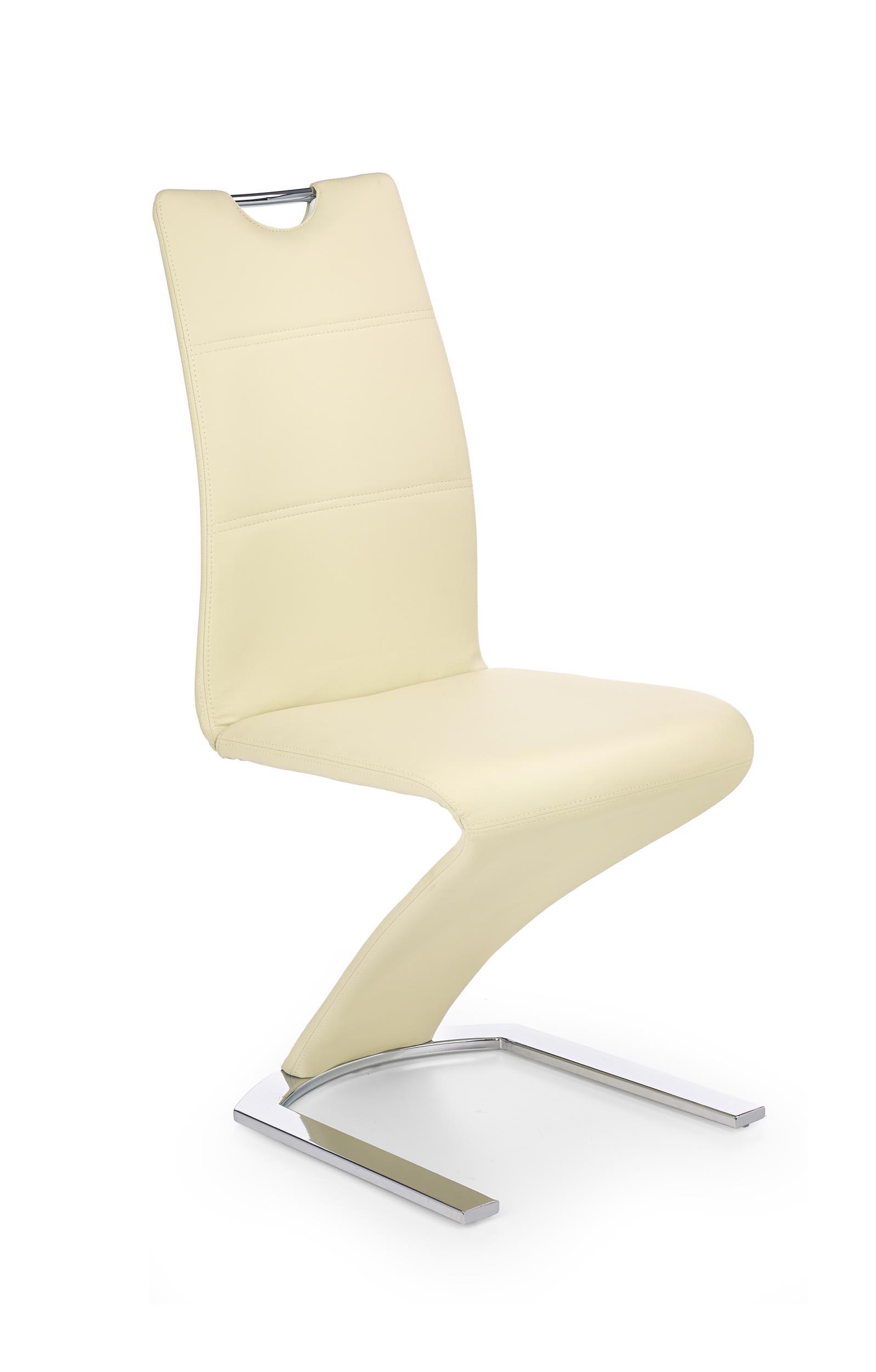 Scaun tapitat cu piele ecologica, cu picioare metalice K188 Vanilla, l45xA63xH101 cm imagine