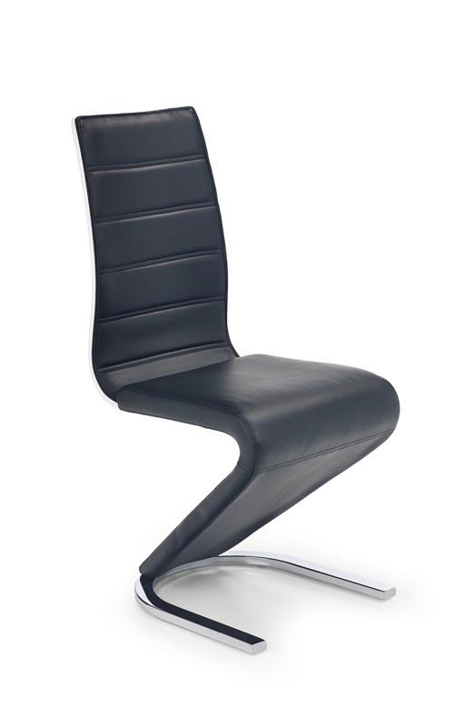 Scaun tapitat cu piele ecologica, cu picioare metalice K194 Black / White, l45xA58xH99 cm