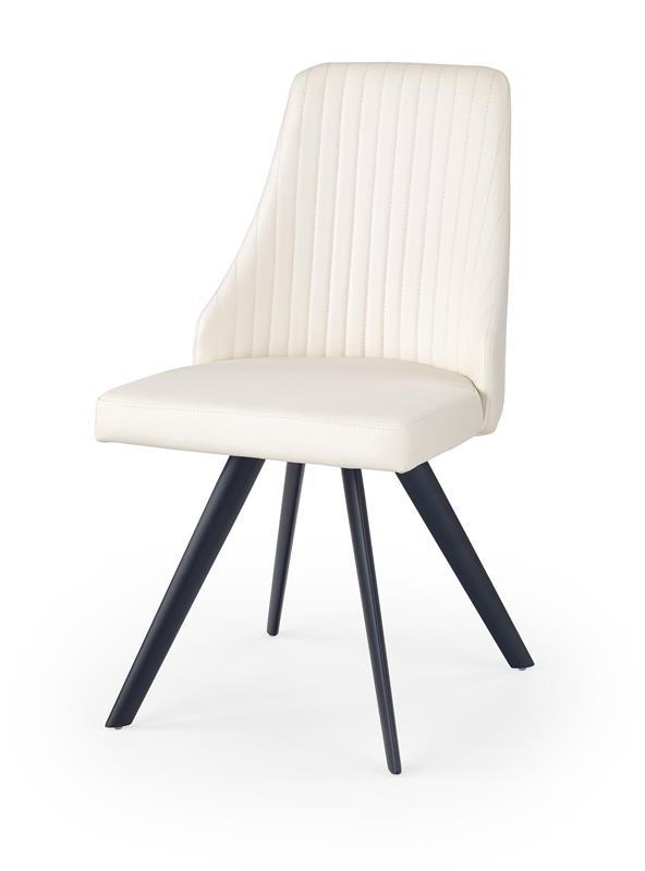 Scaun tapitat cu piele ecologica, cu picioare metalice K206 White / Black, l48xA58xH87 cm