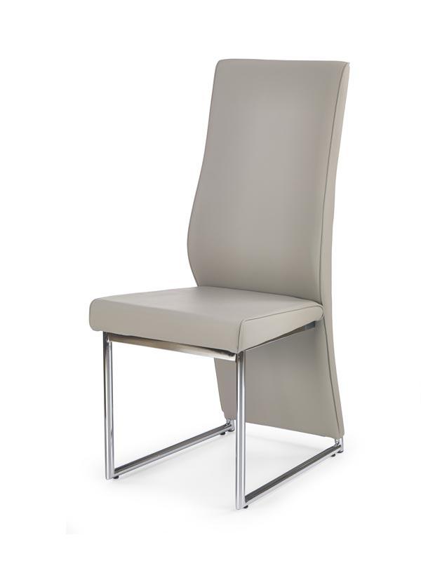 Scaun tapitat cu piele ecologica, cu picioare metalice K213 Cappuccino, l43xA60xH100 cm
