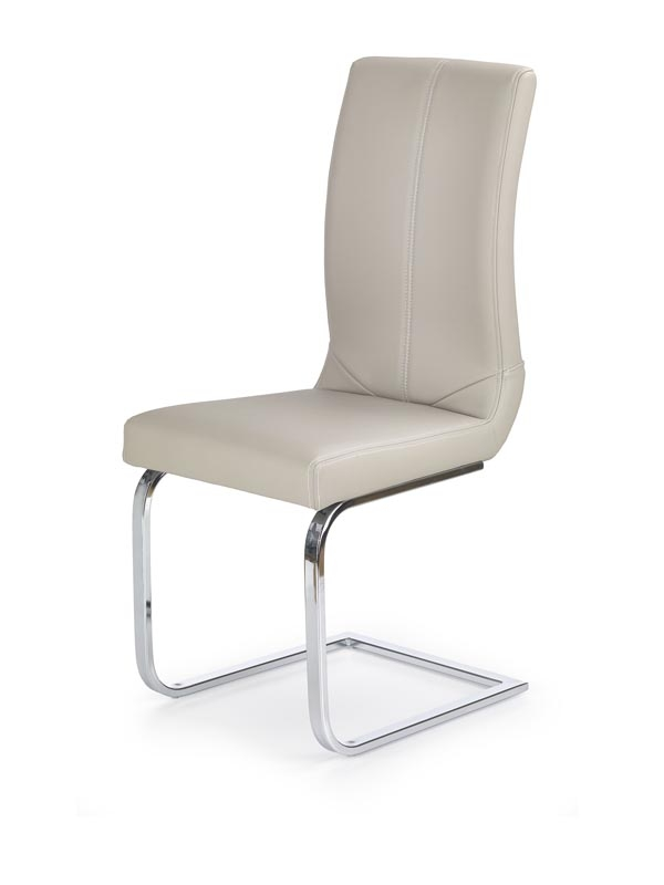 Scaun tapitat cu piele ecologica, cu picioare metalice K219 Cappuccino, l43xA51xH102 cm poza