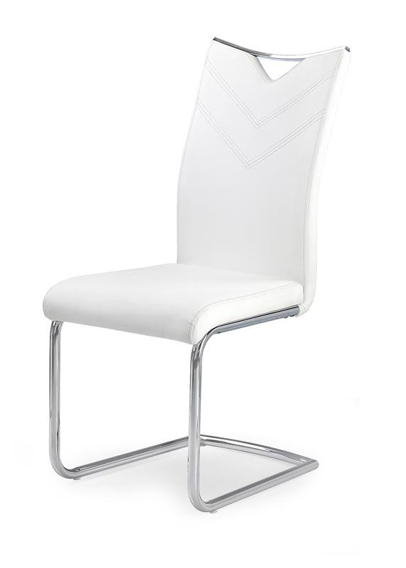 Scaun tapitat cu piele ecologica, cu picioare metalice K224 White, l44xA59xH100 cm
