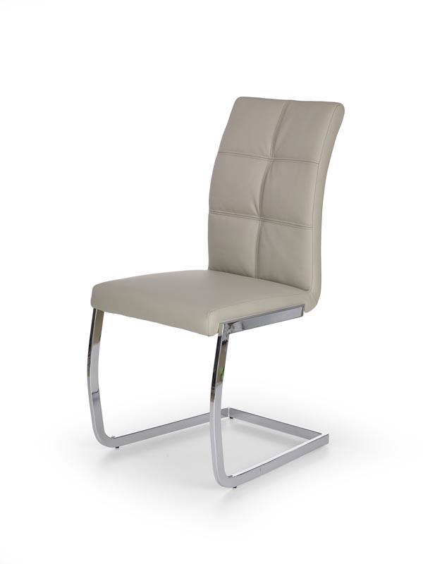 Scaun tapitat cu piele ecologica, cu picioare metalice K228 Light Grey, l48xA61xH99 cm imagine