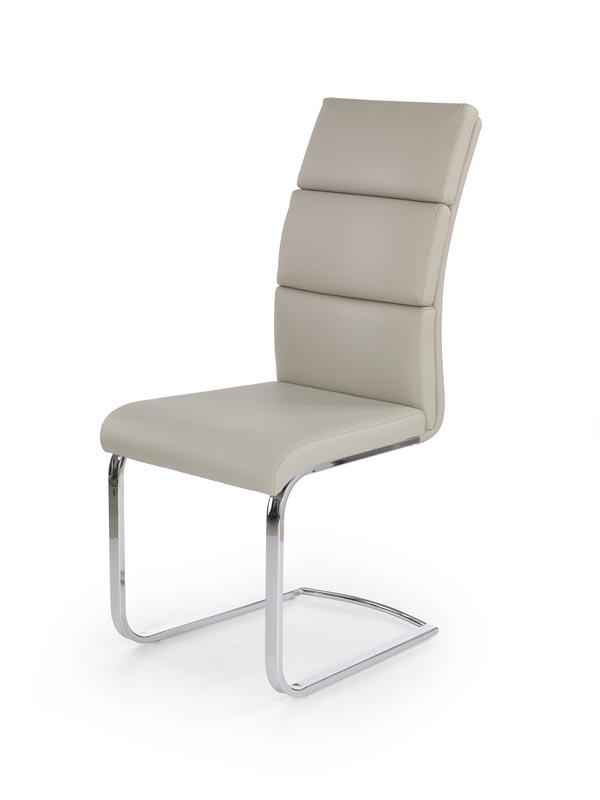 Scaun tapitat cu piele ecologica, cu picioare metalice K230 Light Grey, l46xA63xH104 cm imagine