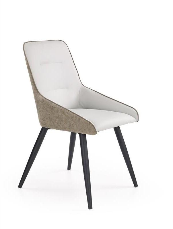 Scaun tapitat cu piele ecologica, cu picioare metalice K243 Light Grey / Dark Grey, l50xA61xH89 cm