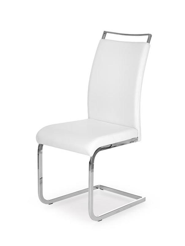 Scaun tapitat cu piele ecologica, cu picioare metalice 'K250 White, l42xA59xH99 cm