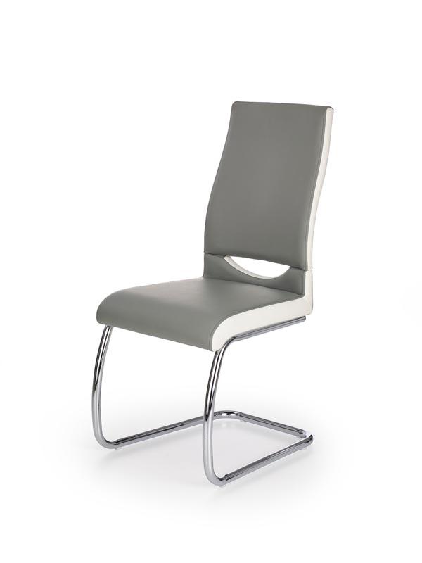 Scaun tapitat cu piele ecologica, cu picioare metalice K259 Grey / White, l44xA59xH97 cm poza