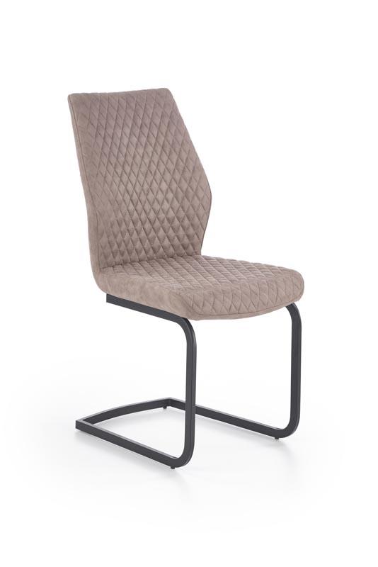 Scaun tapitat cu piele ecologica, cu picioare metalice K272 Dark Beige Dallas, l45xA57xH94 cm imagine