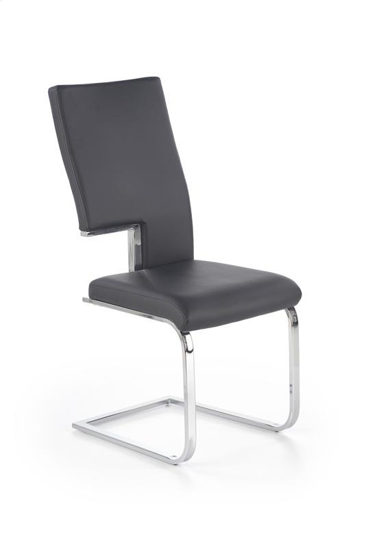 Scaun tapitat cu piele ecologica, cu picioare metalice K294 Black, l44xA57xH99 cm