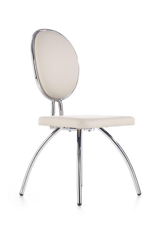 Scaun tapitat cu piele ecologica, cu picioare metalice K297 Light Grey / Chrome, l45xA56xH98 cm
