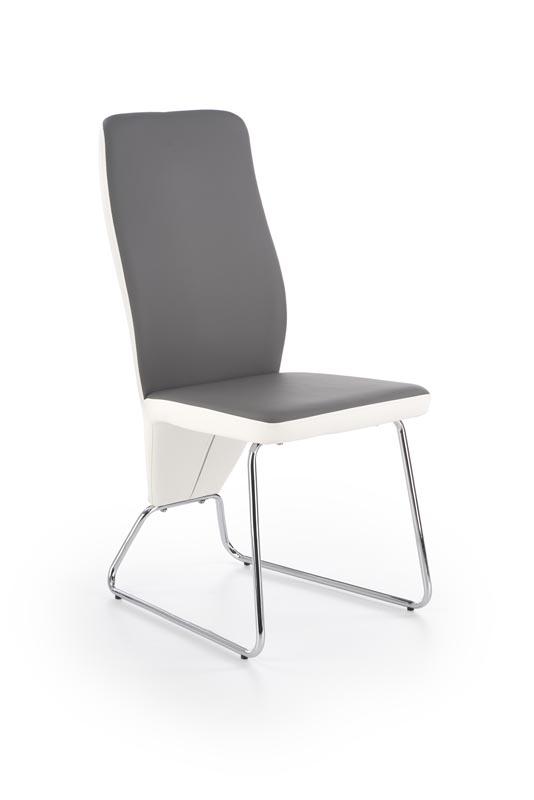 Scaun tapitat cu piele ecologica, cu picioare metalice K299 White / Grey, l45xA57xH96 cm