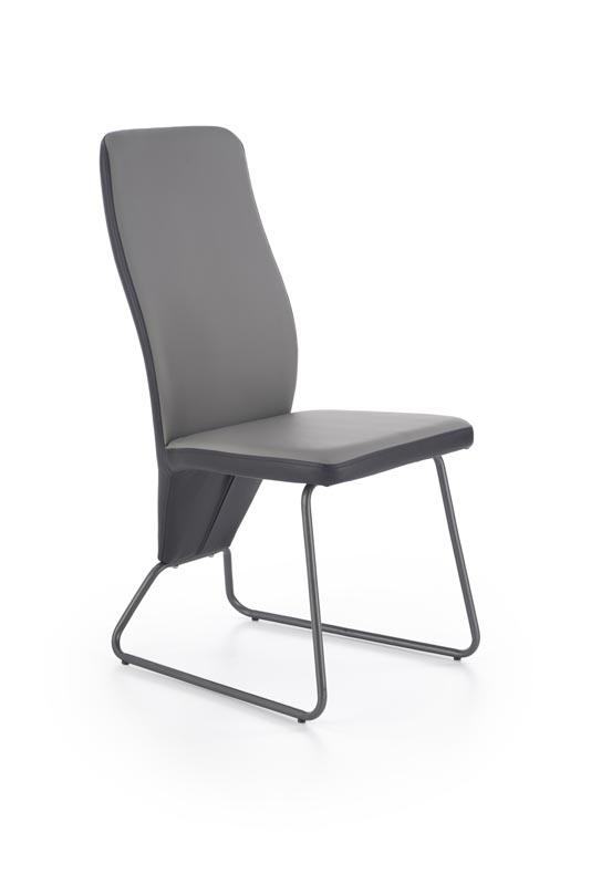 Scaun tapitat cu piele ecologica, cu picioare metalice K300 Black / Grey, l45xA57xH96 cm
