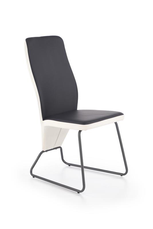 Scaun tapitat cu piele ecologica, cu picioare metalice K300 White / Black, l45xA57xH96 cm