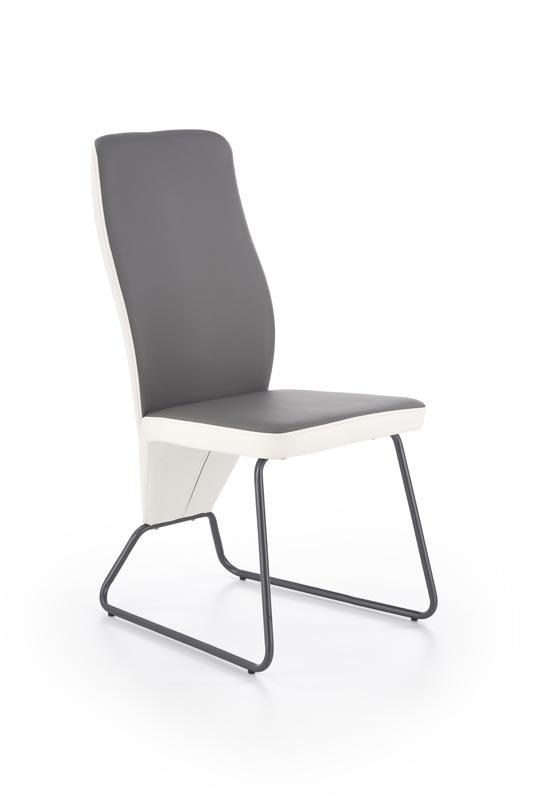 Scaun tapitat cu piele ecologica, cu picioare metalice K300 White / Grey, l45xA57xH96 cm