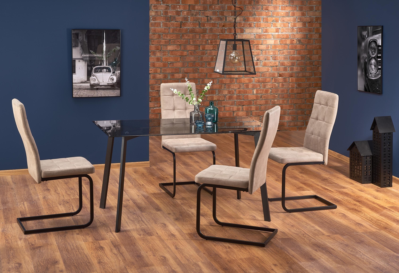 Set masa din sticla si metal Trax Negru + 4 scaune tapitate cu stofa K310 Bej, L140xl80xH75 cm imagine