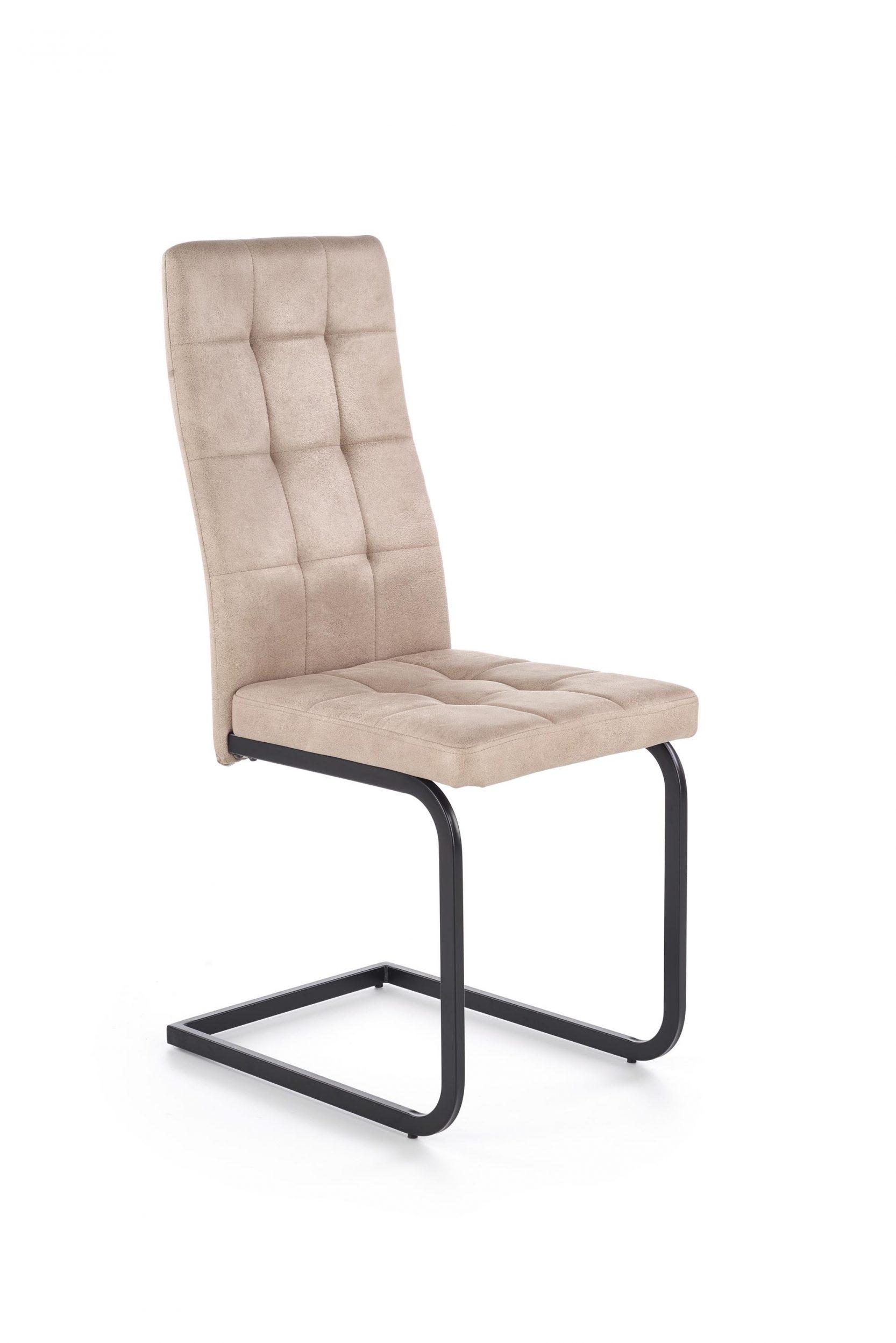 Scaun tapitat cu piele ecologica, cu picioare metalice K310 Bej, l42xA57xH100 cm