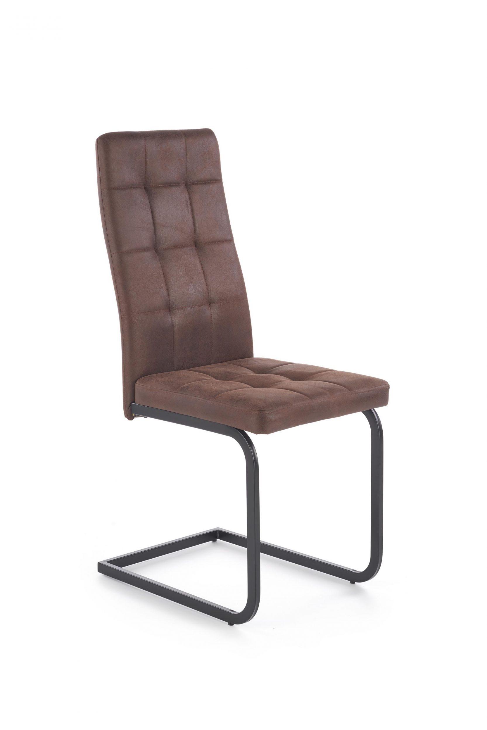 Scaun tapitat cu piele ecologica, cu picioare metalice K310 Maro inchis, l42xA57xH100 cm imagine