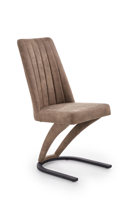 Scaun tapitat cu piele ecologica, cu picioare metalice K338 Maro, l46xA61xH98 cm imagine