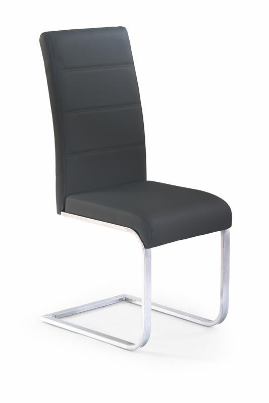 Scaun tapitat cu piele ecologica, cu picioare metalice K85 Black, l42xA56xH100 cm