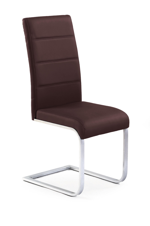 Scaun tapitat cu piele ecologica, cu picioare metalice K85 Brown, l42xA56xH100 cm imagine