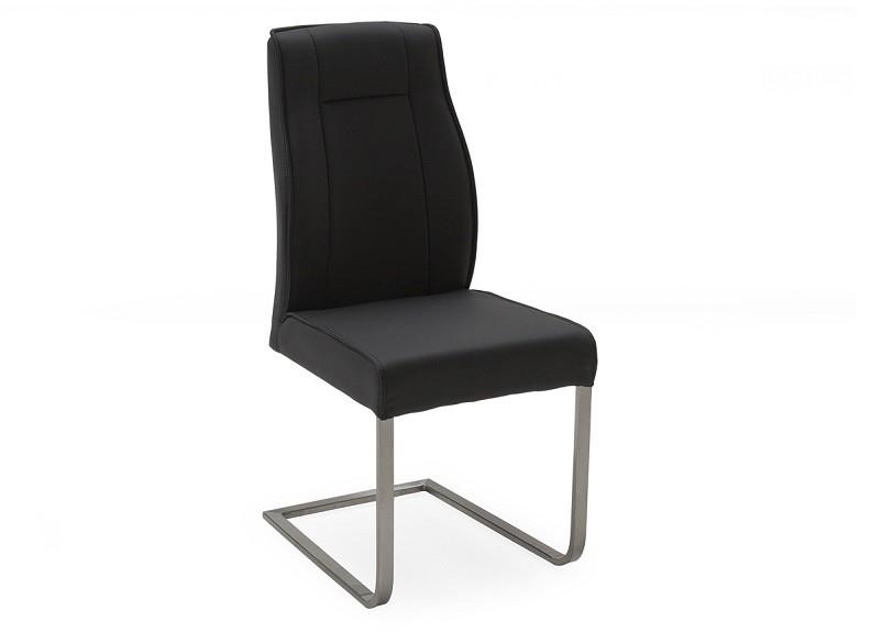Set 2 scaune tapitate cu piele ecologica cu picioare metalice Luciana Charcoal l47xA57xH100 cm