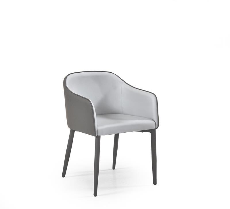 Scaun tapitat cu piele ecologica, cu picioare metalice Shift Dark Grey / Light Grey, l57xA48xH80 cm