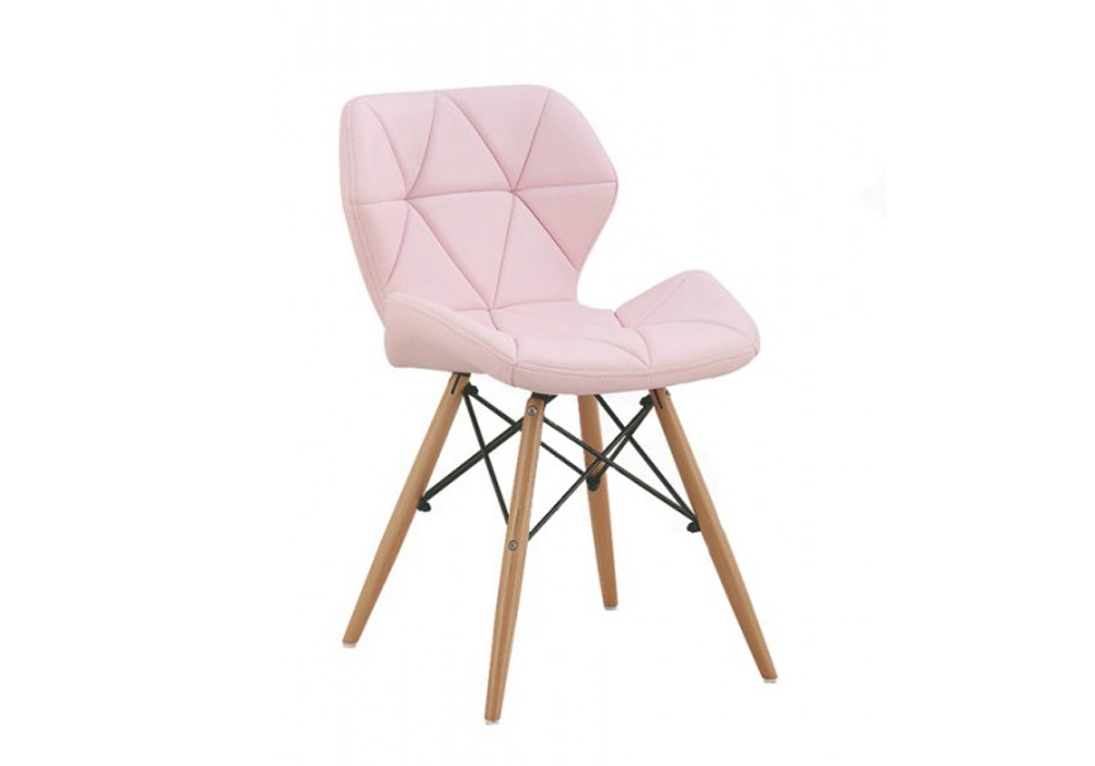 Scaun tapitat cu piele ecologica si picioare de lemn Provence Pink l49xA53xH72 cm