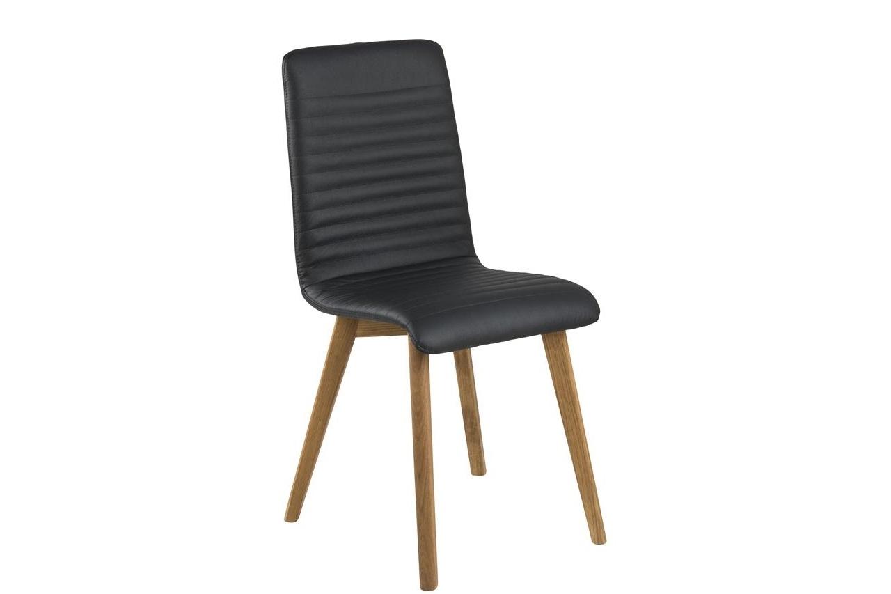 Scaun tapitat cu piele ecologica si picioare din lemn Arosa Negru / Stejar, l42xA43xH90 cm