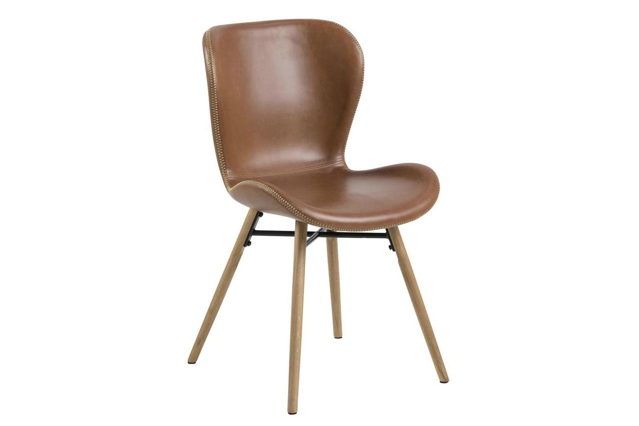 Scaun tapitat cu piele ecologica si picioare din lemn Batilda-A1 Maro / Stejar, l47xA56xH82,5 cm imagine