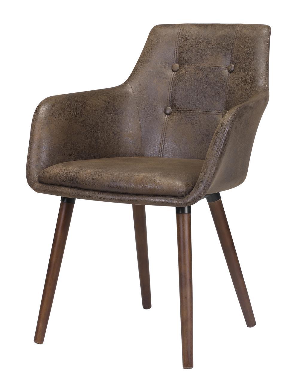 Scaun tapitat cu piele ecologica si picioare din lemn Johannesburg Maro, l56,5xA57,5xH81 cm