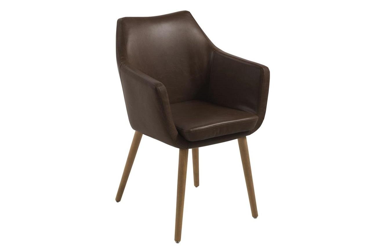 Scaun tapitat cu piele ecologica si picioare din lemn Nora Maro Inchis / Stejar, l58xA58xH84 cm imagine