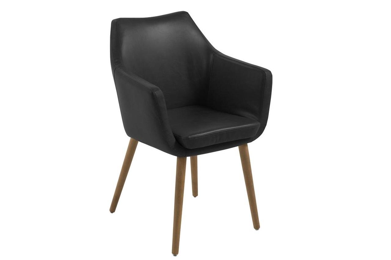 Scaun tapitat cu piele ecologica si picioare din lemn Nora Negru / Stejar, l58xA58xH84 cm imagine
