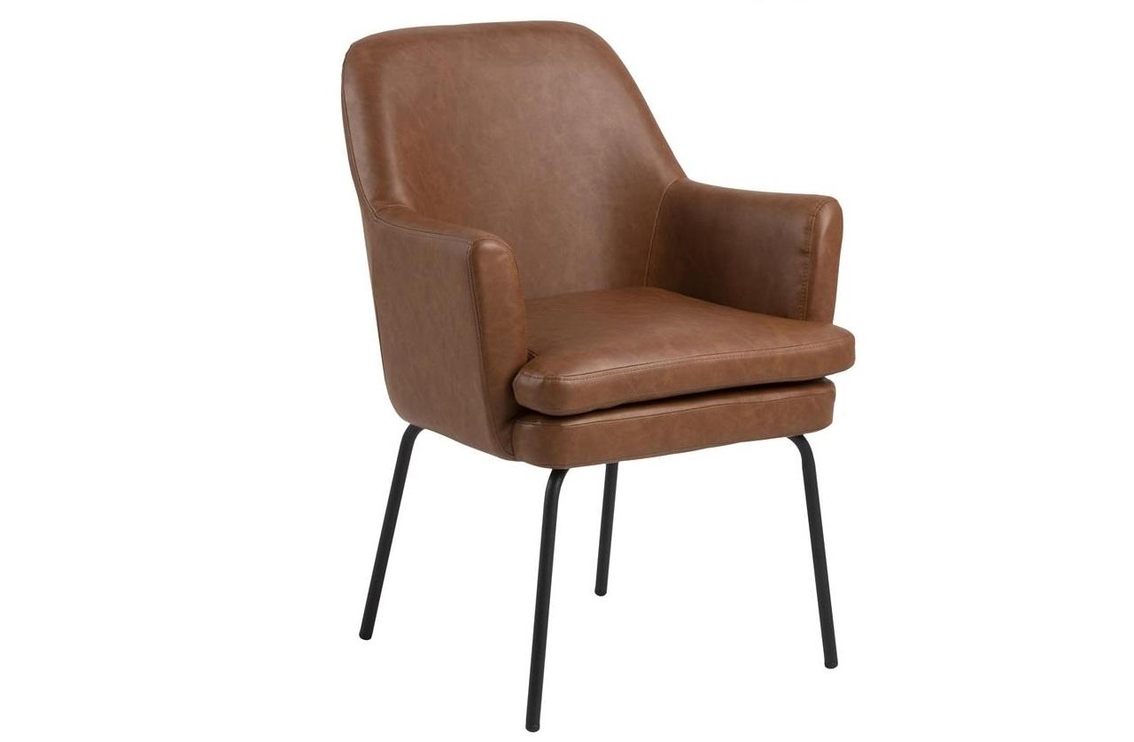 Scaun tapitat cu piele ecologica si picioare metalice Chisa Maro / Negru, l61xA61xH85 cm