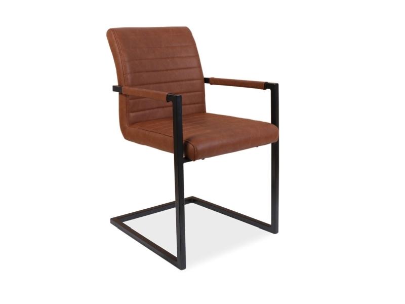Scaun tapitat cu piele ecologica si picioare metalice Solid Maro / Negru, l47xA44xH87 cm poza