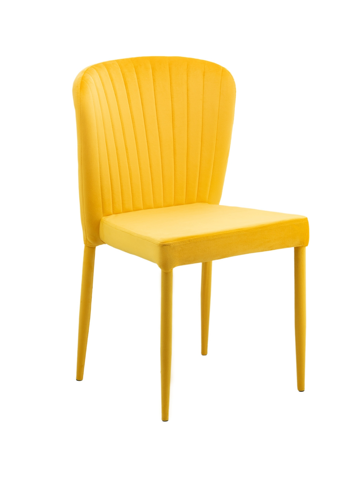 Scaun tapitat cu sofa cu picioare de metal tapitate Benzara Yellow l47xA42xH86 cm