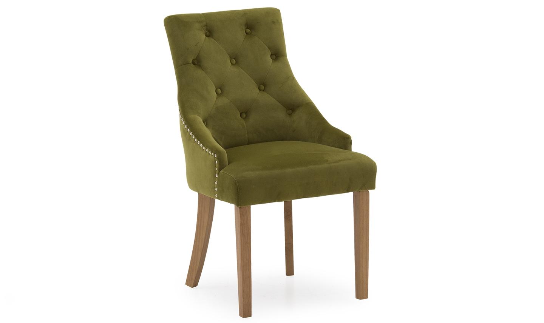 Set 2 scaune tapitate cu stofa cu picioare de lemn Hobbs Velvet Moss l50xA64xH985 cm