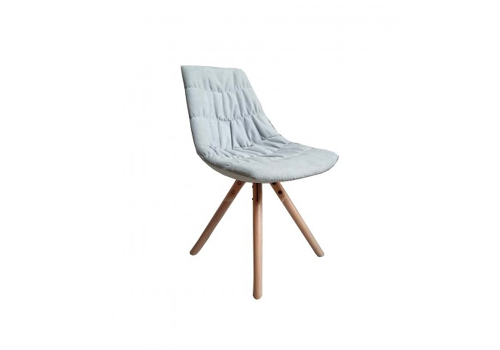 Scaun tapitat cu stofa cu picioare de lemn Joy White l47xA54xH80 cm