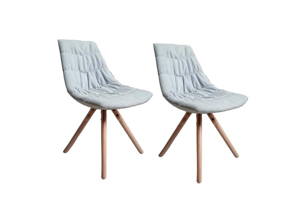Set 2 scaune tapitate cu stofa cu picioare de lemn Joy White l47xA54xH80 cm