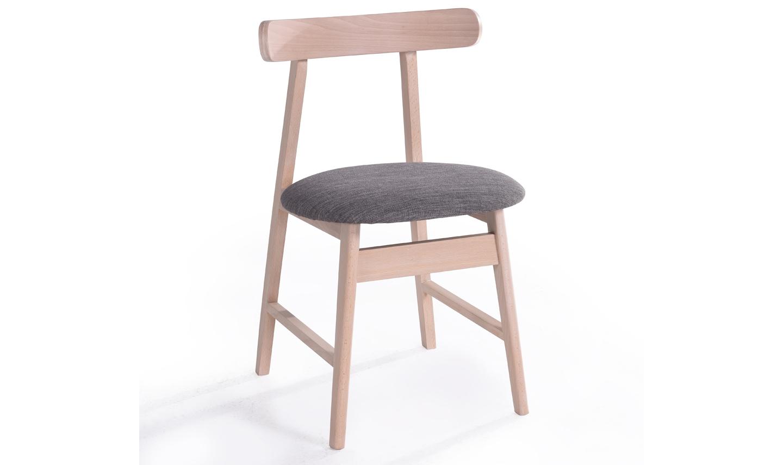 Set 2 scaune tapitate cu stofa cu picioare din furnir Isla Beech / Grey l47xA455xH755 cm