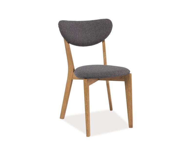 Scaun tapitat cu stofa, cu picioare din lemn Andre Gri / Stejar, l42xA45xH78 cm