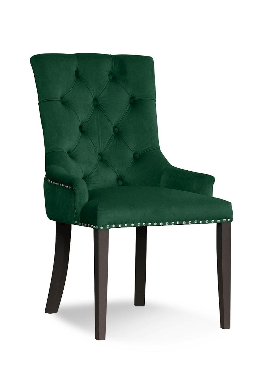 Scaun tapitat cu stofa, cu picioare din lemn August Green / Black, l59xA70xH96 cm