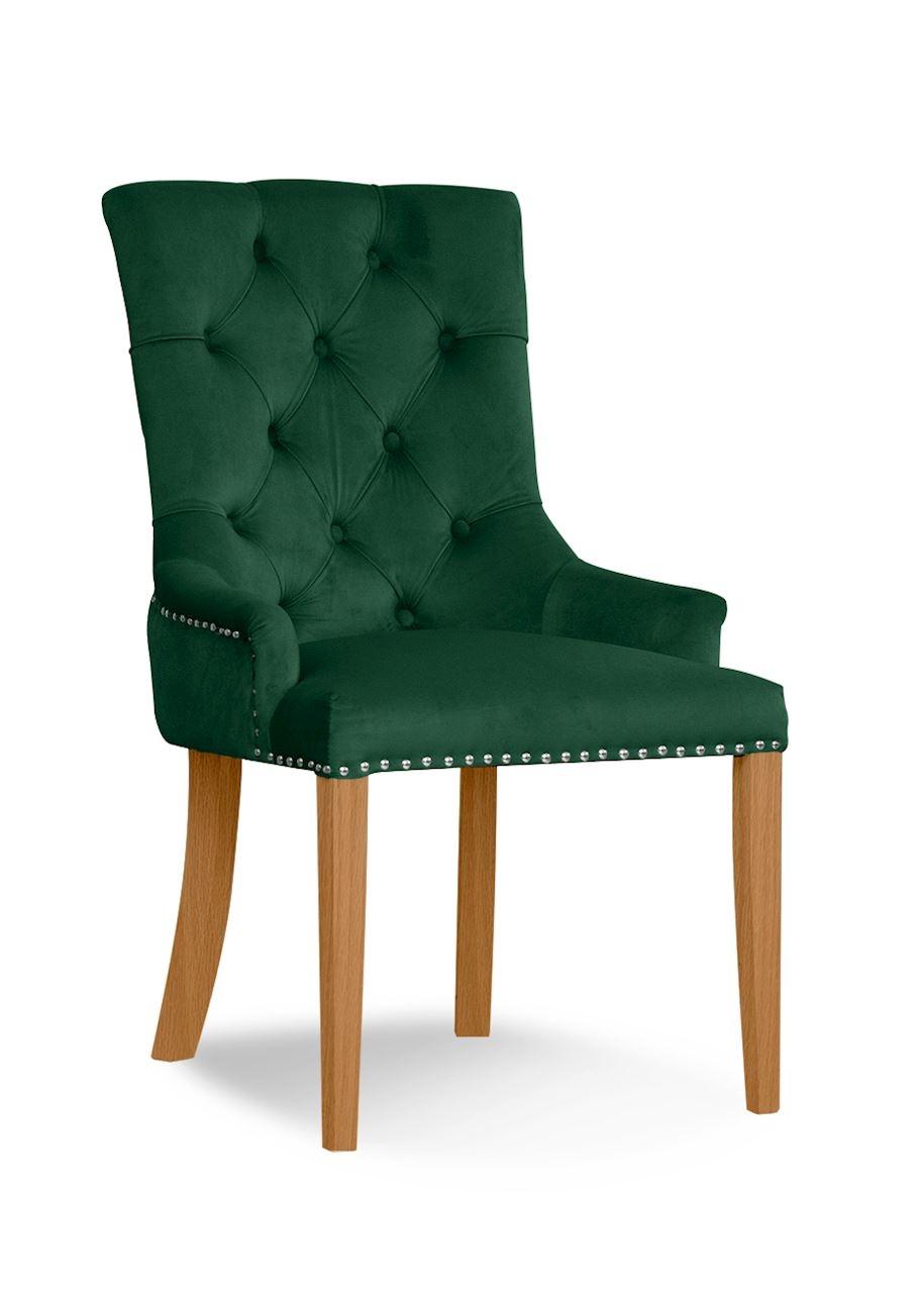 Scaun tapitat cu stofa, cu picioare din lemn August Green / Oak, l59xA70xH96 cm
