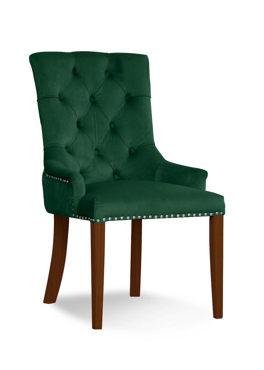 Scaun tapitat cu stofa si picioare din lemn August Velvet Verde / Nuc, l59xA70xH96 cm imagine