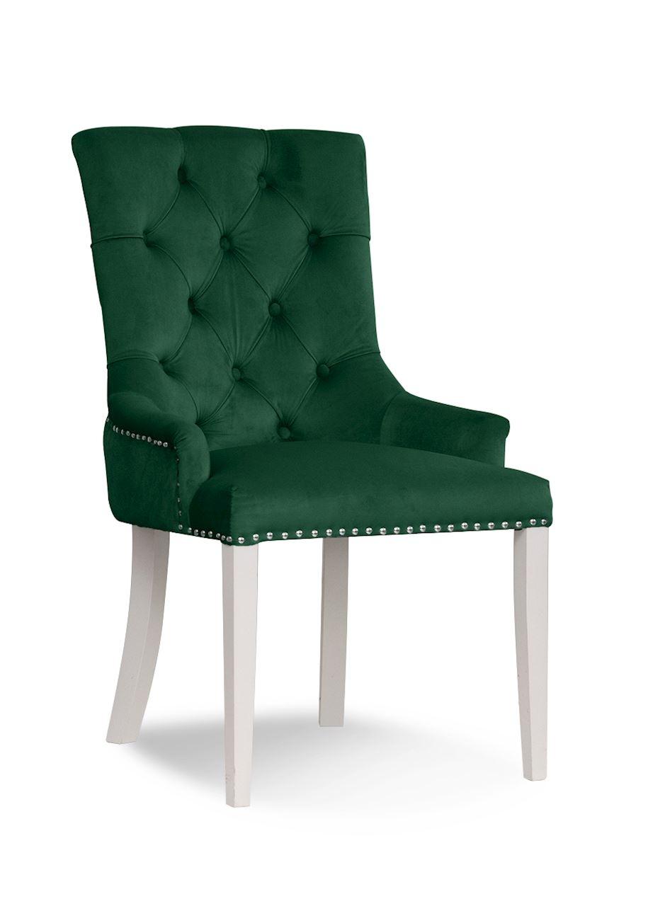 Scaun tapitat cu stofa, cu picioare din lemn August Green / White, l59xA70xH96 cm